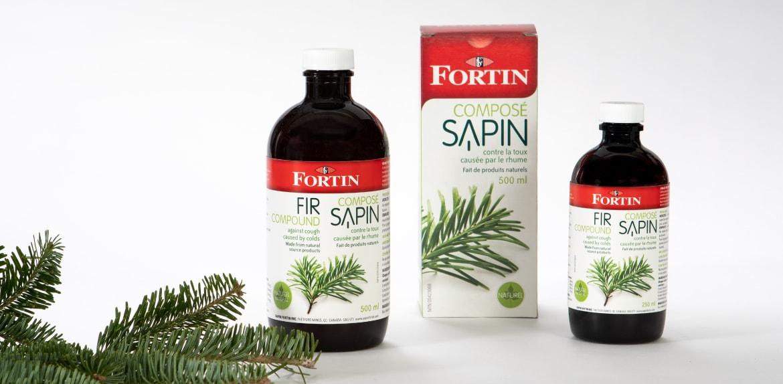 Boîte et bouteille du client Fortin de la gamme Composé Sapin dans le marché santé et beauté