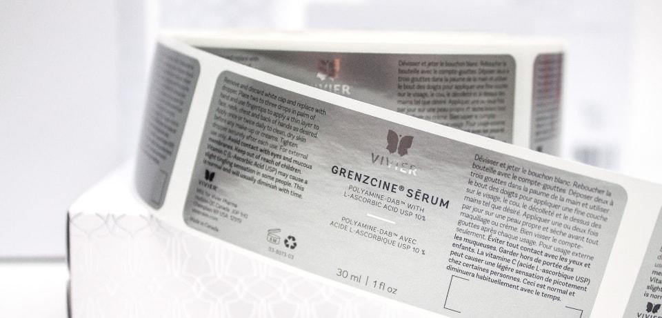 Étiquette Grenzcine sérum de Viver dans le marché santé et beauté