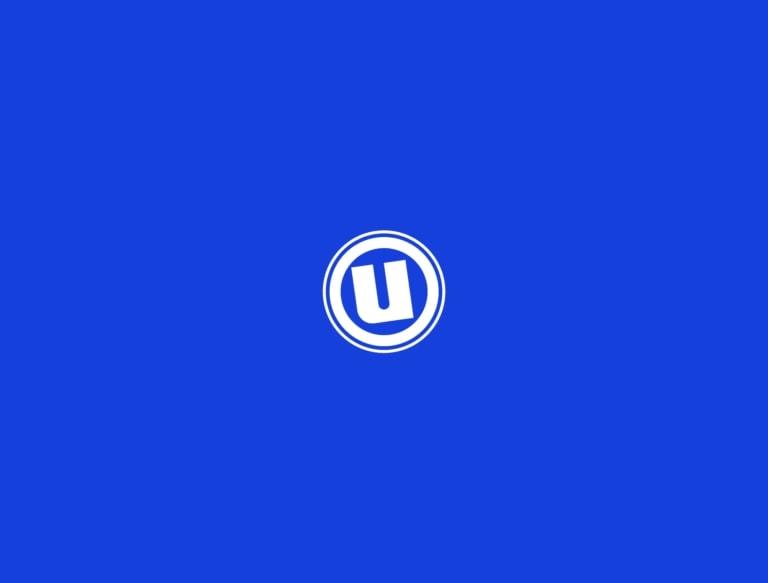 Logo uniprix sur fond bleu