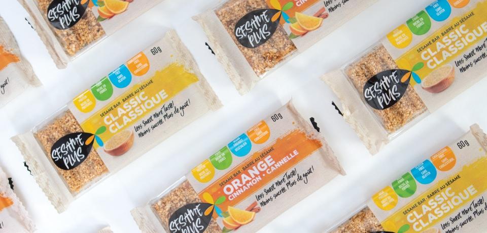 Ensemble de barre et emballage alimentaire sesame plus