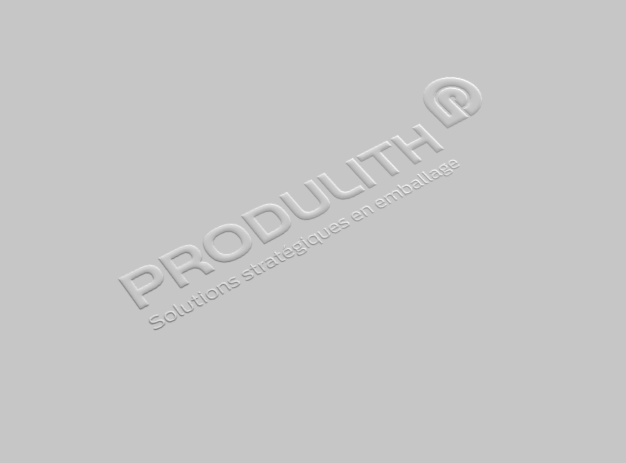 Embossage Produlith sur fond blanc